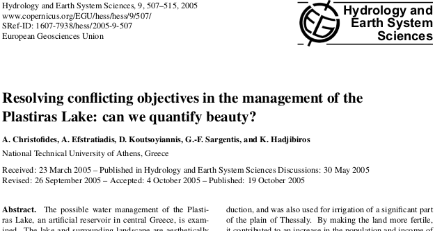 Resolving conflicting objectives in the management of the Plastiras Lake: can we quantify beauty?